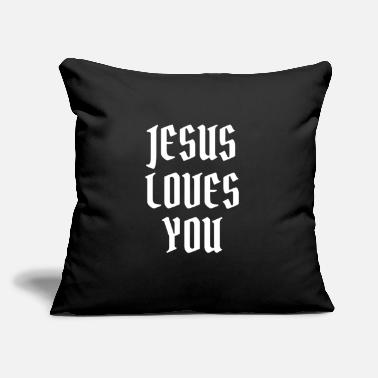 "Made Jesus Loves You - Christian Quotes - Throw Pillow Cover 18"" x 18"""