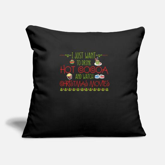 "Christmas Pillow Cases - Drink Hot Cocoa Watch Christmas Movies - Throw Pillow Cover 18"" x 18"" black"