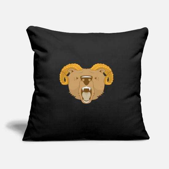"Capricorn Pillow Cases - ram bear - Throw Pillow Cover 18"" x 18"" black"