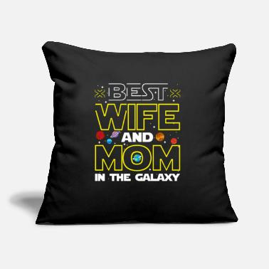 "Wife Best Wife and Mom Funny Mothers Gift - Throw Pillow Cover 18"" x 18"""