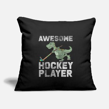 "Training Hockey T-Rex - Throw Pillow Cover 18"" x 18"""