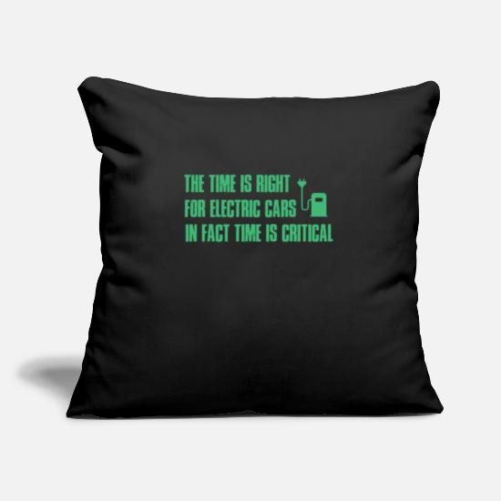 "Earth Day Pillow Cases - Electric Vehicle Rechargeable Car Cool Gift - Throw Pillow Cover 18"" x 18"" black"