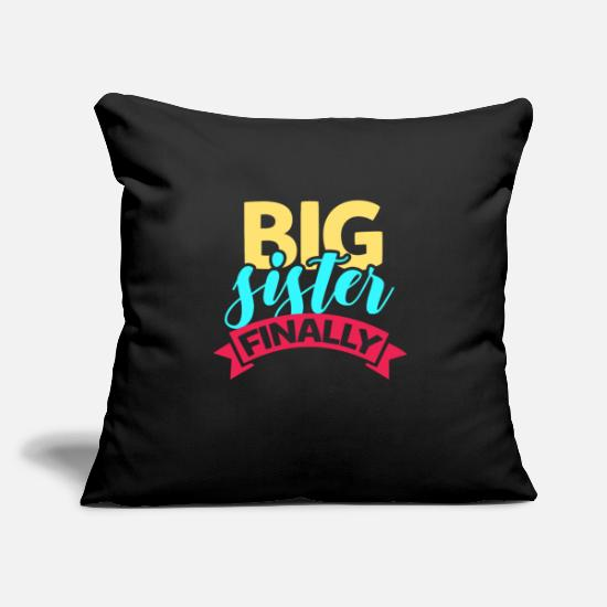 "Big Sister Pillow Cases - Big sister - Throw Pillow Cover 18"" x 18"" black"