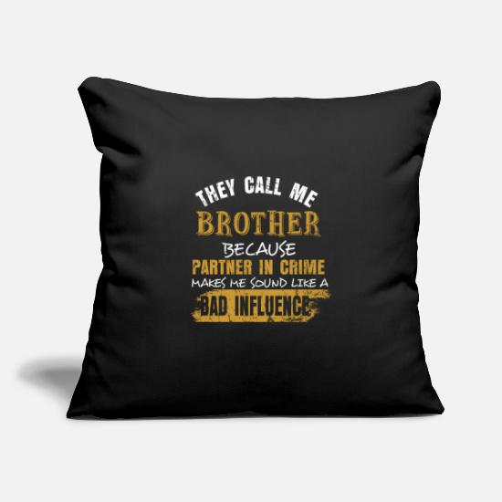 "Mother Pillow Cases - Brother - Throw Pillow Cover 18"" x 18"" black"