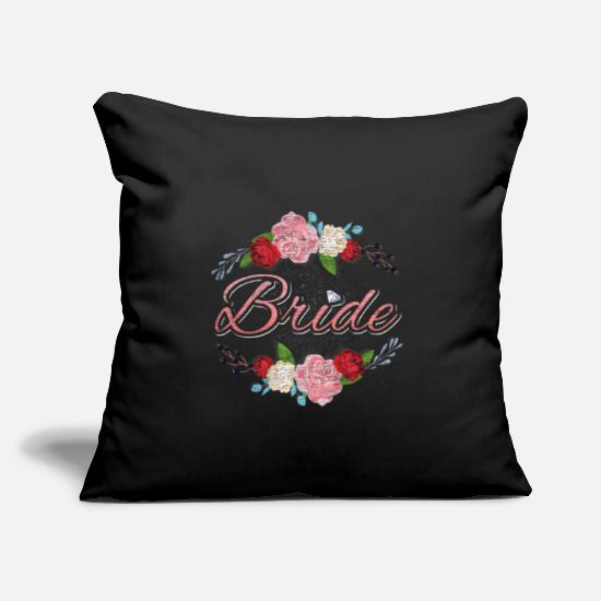 "Bride Pillow Cases - hen night bride - Throw Pillow Cover 18"" x 18"" black"