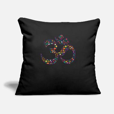 "Om Floral Om Symbol - Throw Pillow Cover 18"" x 18"""