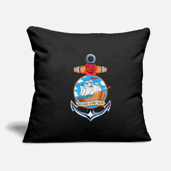 "Shark Pillow Cases - Boat Inside An Anker With A Rose - Vintage Sailing - Throw Pillow Cover 18"" x 18"" black"