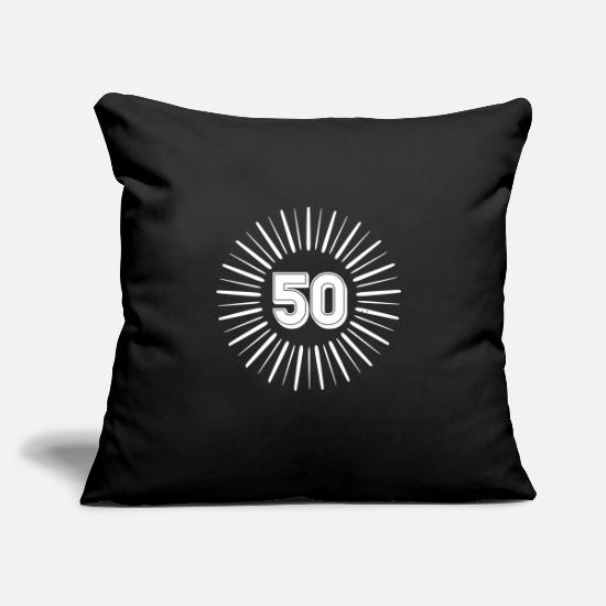 "Birthday Pillow Cases - 50 Years Birthday Round Rays - Throw Pillow Cover 18"" x 18"" black"