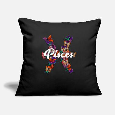 "Silver Pisces Butterfly Zodiac - Throw Pillow Cover 18"" x 18"""