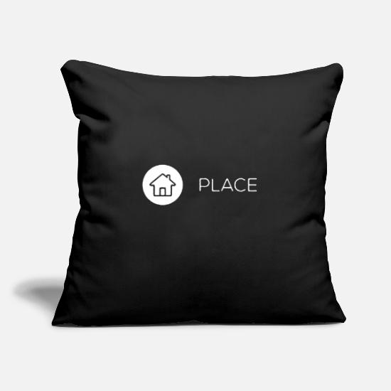 "Place Of Birth Pillow Cases - Place Icon - Throw Pillow Cover 18"" x 18"" black"