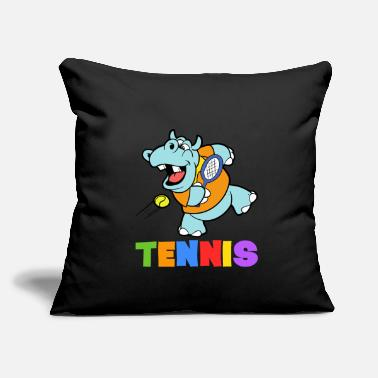 "Tennis Tennis Hippopotamus - Throw Pillow Cover 18"" x 18"""