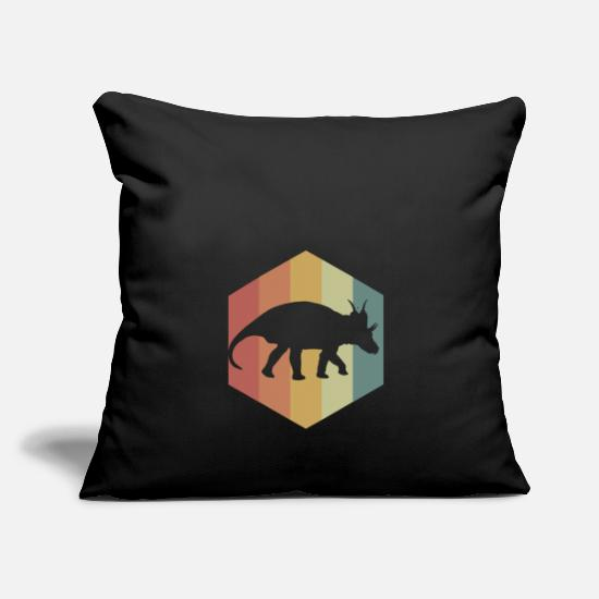 "Cretaceous Period Pillow Cases - Dinosaur Xenoceratops Hexagon Stripes - Throw Pillow Cover 18"" x 18"" black"