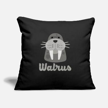 "Ivory Tusks Ocean Animal Funny Walrus - Ivory Tusks Ocean Animal - Mammal - Throw Pillow Cover 18"" x 18"""