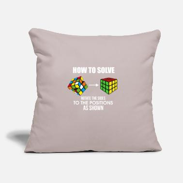 "Cube How To Solve Puzzle Cube - Funny Cubing - Throw Pillow Cover 18"" x 18"""