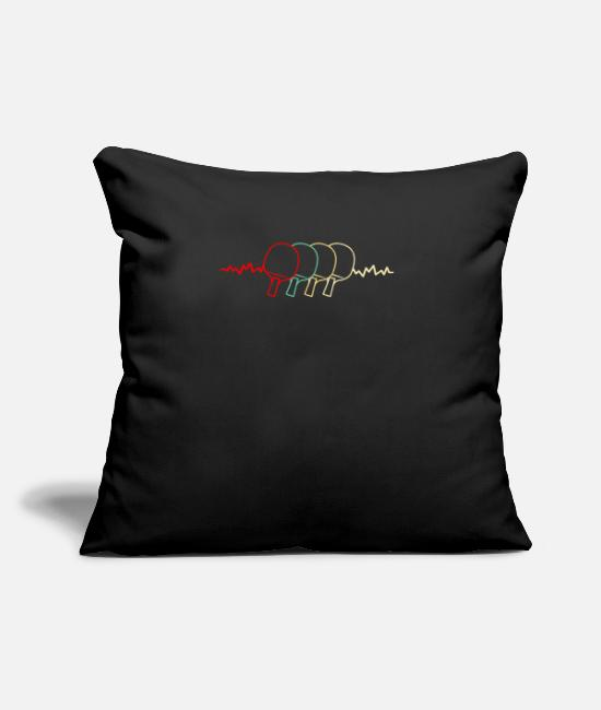 "Ping Pong Lover Pillow Cases - Table Tennis Heartbeat Pingpong Paddle Heart Beat - Throw Pillow Cover 18"" x 18"" black"