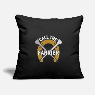 "Farrier Call the Farrier - Horseshoe with nails - Throw Pillow Cover 18"" x 18"""