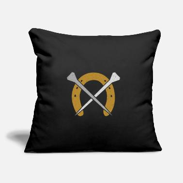 "Farrier Vintage Horseshoe with nails - blacksmith farrier - Throw Pillow Cover 18"" x 18"""