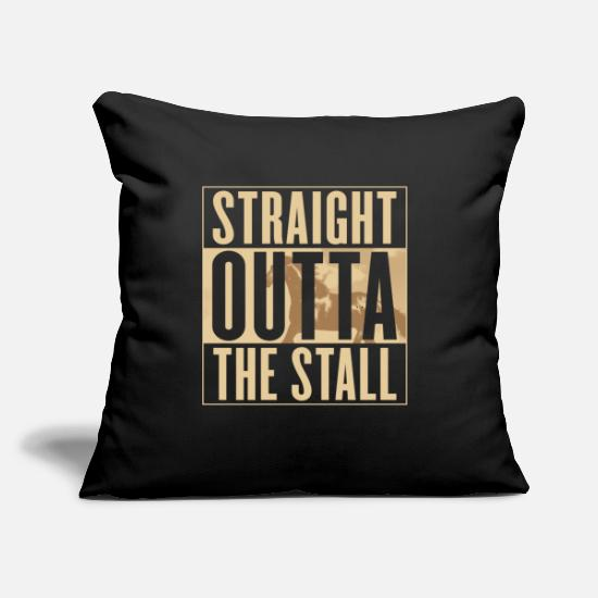 "Horse Pillow Cases - Horse Straight Outta The Stall Equestrian - Throw Pillow Cover 18"" x 18"" black"