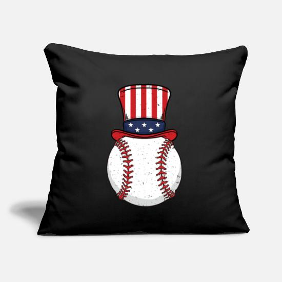 "Usa Pillow Cases - Baseball Player 4th July Independence Day Sam Gift - Throw Pillow Cover 18"" x 18"" black"