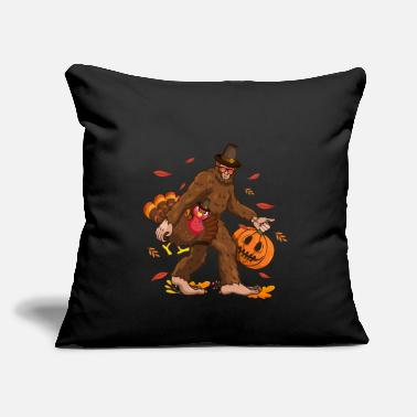 "Bigfoot Thanksgiving Day Funny Bigfoot Thanksgiving Day Turkey Costume - Throw Pillow Cover 18"" x 18"""