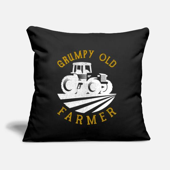 "Grumpy Pillow Cases - Grumpy Old Farmer - Throw Pillow Cover 18"" x 18"" black"