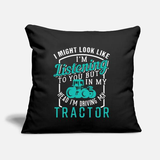 "Life Pillow Cases - Driving My Tractor Farmer Life - Throw Pillow Cover 18"" x 18"" black"