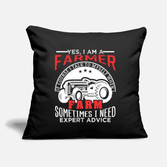 "Farming Pillow Cases - Farmer Sometimes I Need Expert Advice Gift - Throw Pillow Cover 18"" x 18"" black"