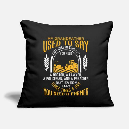 "Life Pillow Cases - Farmer Three Times a Day You Need a Farmer - Throw Pillow Cover 18"" x 18"" black"