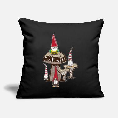 "Dwarves Dwarves in the forest sit on mushrooms - Throw Pillow Cover 18"" x 18"""