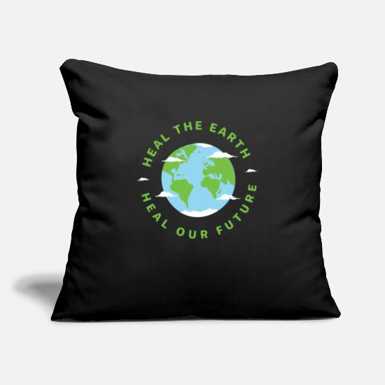 "Conservation Pillow Cases - Heal The Earth Heal Our Future Nature Conservation - Throw Pillow Cover 18"" x 18"" black"