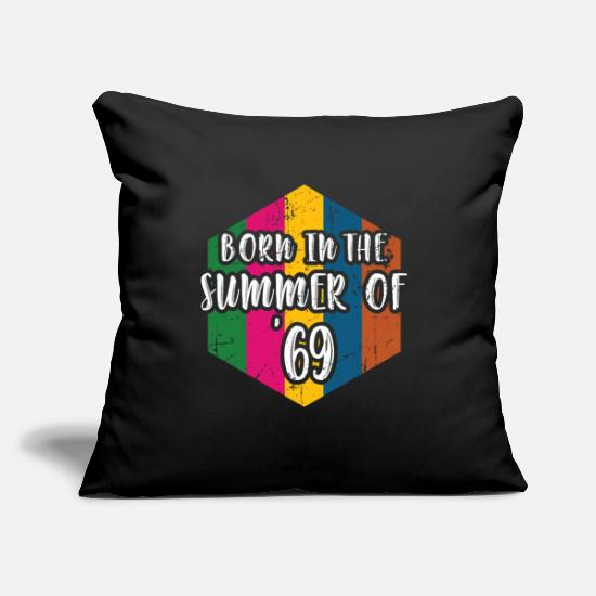 "Summer Pillow Cases - 50th Birthday Summer of 69 Gift Mom Dad Vintage - Throw Pillow Cover 18"" x 18"" black"