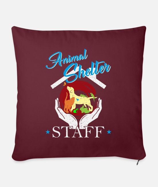 "Birthday Pillow Cases - Animal shelter coworker / animal keeper - Throw Pillow Cover 18"" x 18"" burgundy"