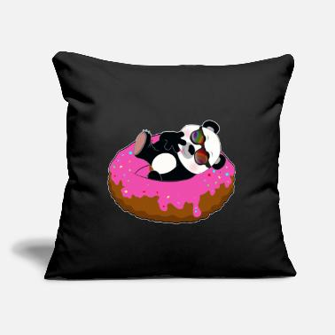 "Zoology Funny Panda on Donut Pool Party Summer Gift - Throw Pillow Cover 18"" x 18"""
