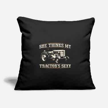 "Goat She Thinks my Tractors Sexy I Funny Farmer Quote - Throw Pillow Cover 18"" x 18"""