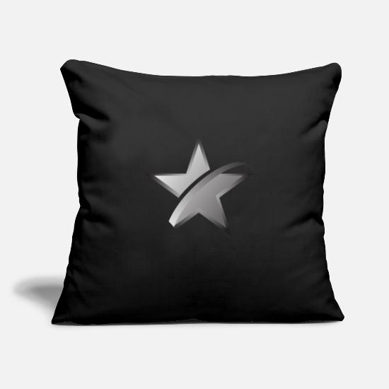 "Star Pillow Cases - Star Icon - Throw Pillow Cover 18"" x 18"" black"