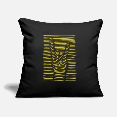 "Rebellion Metal and rock hand gesture striped illusion. - Throw Pillow Cover 18"" x 18"""