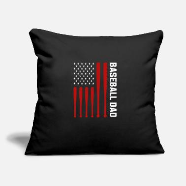 "Cool Baseball Dad baseball dad american flag sport father proud - Throw Pillow Cover 18"" x 18"""