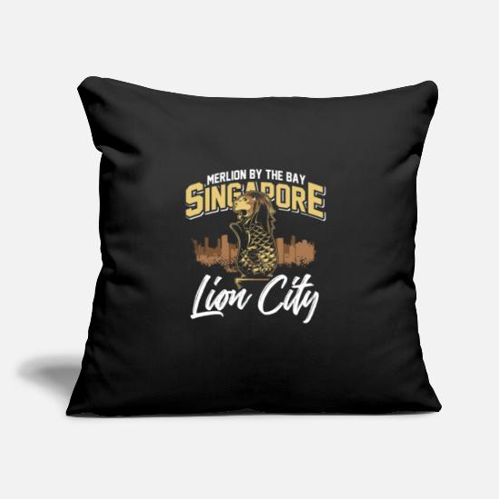 "Sanskrit Pillow Cases - Merlion By The Bay Singapore Lion City - Throw Pillow Cover 18"" x 18"" black"