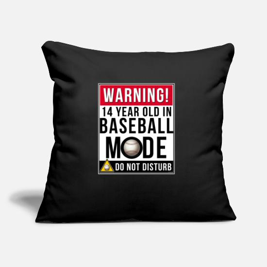 "Birthday Pillow Cases - 14 Year Old In Baseball Mode - Throw Pillow Cover 18"" x 18"" black"