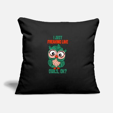 "Present Owl & Owls Present & Gift - Throw Pillow Cover 18"" x 18"""
