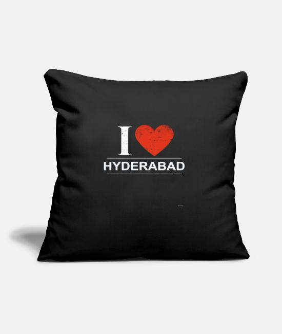 "Rastafari Pillow Cases - I Love Hyderabad - Throw Pillow Cover 18"" x 18"" black"
