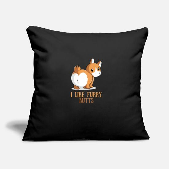 "Starry Sky Pillow Cases - Furry Butts Funny Animal Humor Hilarious Gift Joke - Throw Pillow Cover 18"" x 18"" black"