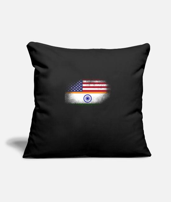 "Ahmedabad Pillow Cases - Distressed Half America Half India Flag Mix - Throw Pillow Cover 18"" x 18"" black"