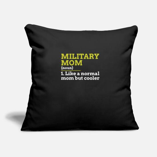 "Military Pillow Cases - Military Mom - Throw Pillow Cover 18"" x 18"" black"