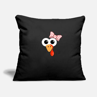"Pink Thanksgiving Halloween TURKEY FACE pink bow - Throw Pillow Cover 18"" x 18"""