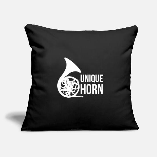 "Horns Pillow Cases - unique horn | brass music folk musician orchestra - Throw Pillow Cover 18"" x 18"" black"