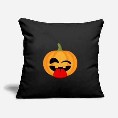 "Stick Out Winking pumpkin with tongue sticking out - Throw Pillow Cover 18"" x 18"""