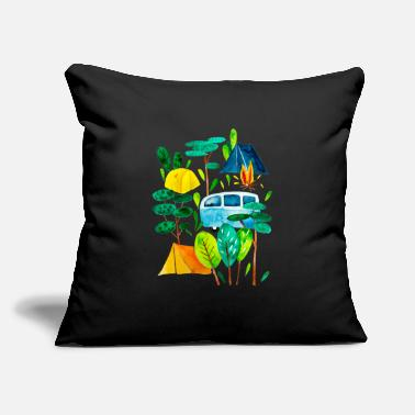 "Campfire Campground and campfire, time for holidays - Throw Pillow Cover 18"" x 18"""