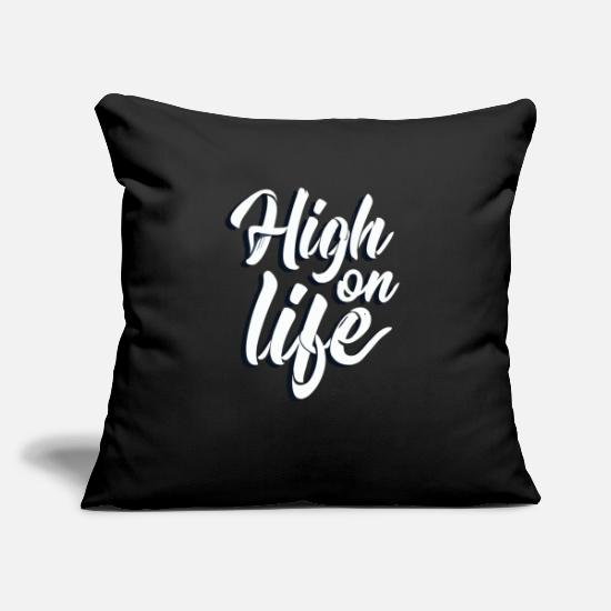 "Goodies Pillow Cases - High On Life Typographi - Throw Pillow Cover 18"" x 18"" black"