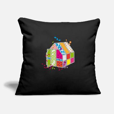 "Surrealism colorful greenhouse made of patterns and shapes - Throw Pillow Cover 18"" x 18"""